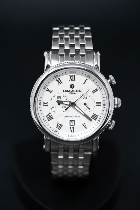 """Lancaster Italy - Chronograph Monarch Collection White Dial Stainless Steel Bracelet - OLA0690MBSSBN """"NO RESERVE PRICE"""" - Men - Brand New"""