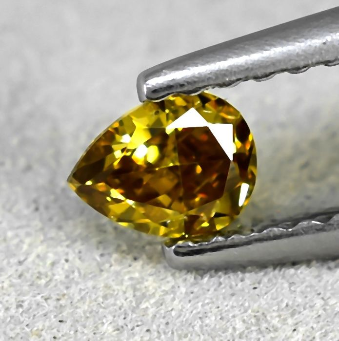 Diamond - 0.26 ct - Pear - Natural Fancy Deep Yellow - VS2 - NO RESERVE PRICE