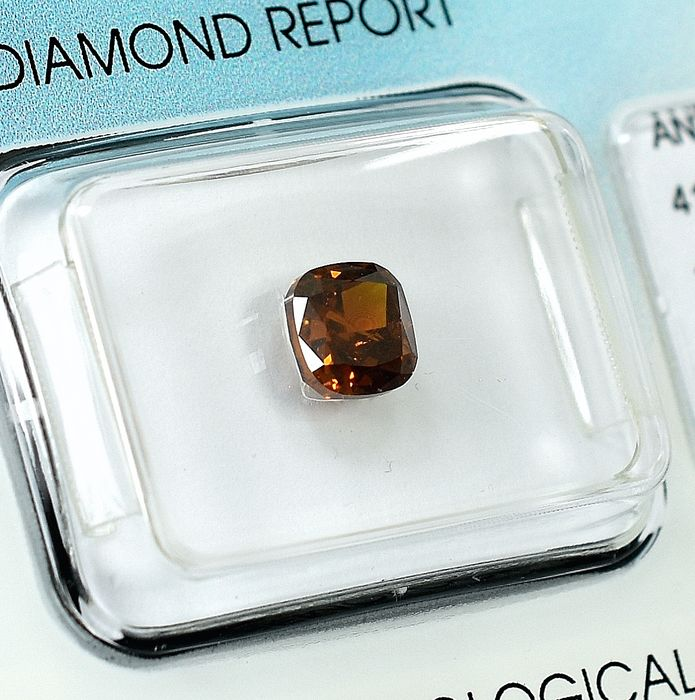 Diamond - 1.03 ct - Square - Natural Fancy Deep Yellowish Orange - I1