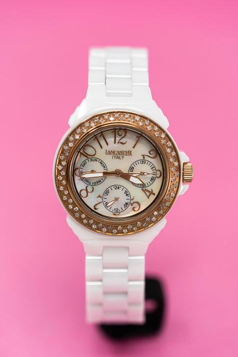 Lancaster Italy - 70 Diamonds for 0.59 Carat White Ceramic Diamonds Collection White Mother of Pearl Dial IP Rose Gold - OLA0649RG/BN - Dames - Brand New
