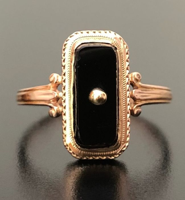 18 kt. Pink gold - Marquise ring 1880 - Onyx - ** NO RESERVE PRICE **