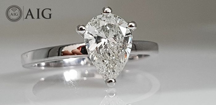 14 kt. White gold - Ring - Clarity enhanced 0.90 ct Diamond - No Reserve
