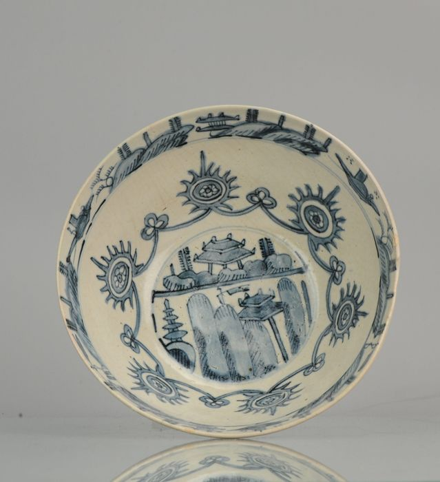 Cuenco - Porcelana -  Swatow Zhangzhou Crackle Celadon Bowl Bird Ca 1600 - China - Dinastía Ming (1368-1644)