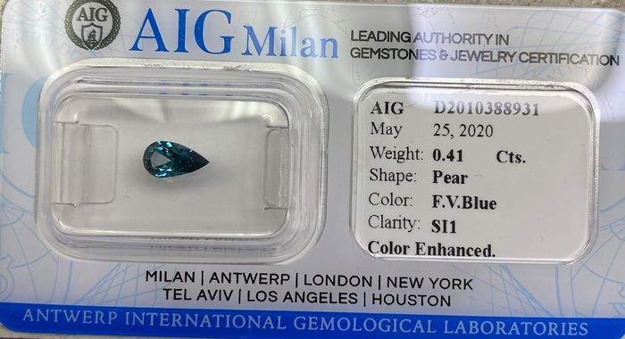 1 pcs Diamant - 0.41 ct - Poire - fancy vivid blue - SI1