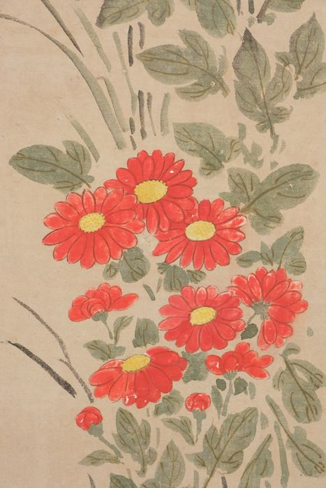 Roompanel - Papier - Screen (byobu) with 6 individual elegant paintings of kiku chrysantheum flowers - Japan - Meiji - Taisho-Zeit