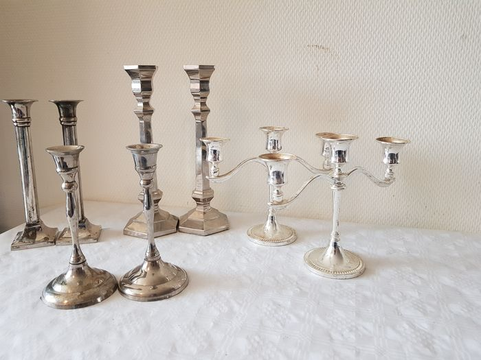 4 Pair of Decorative Silver Plated Candlesticks (8) - Art Deco