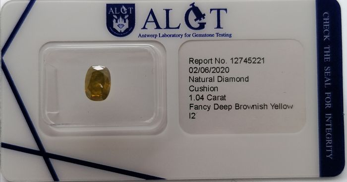 1 pcs Diamonds - 1.04 ct - Cushion - Colour Treated - fancy deep brownish yellow - ***no reserve price **i2