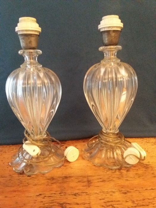 Pair of glass table lamps