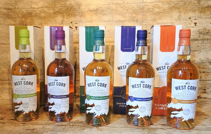 West Cork Calvados - Port - Virgin Oak - Sherry - Rum Cask Finished in original boxes - 700 ml - 5 sticle