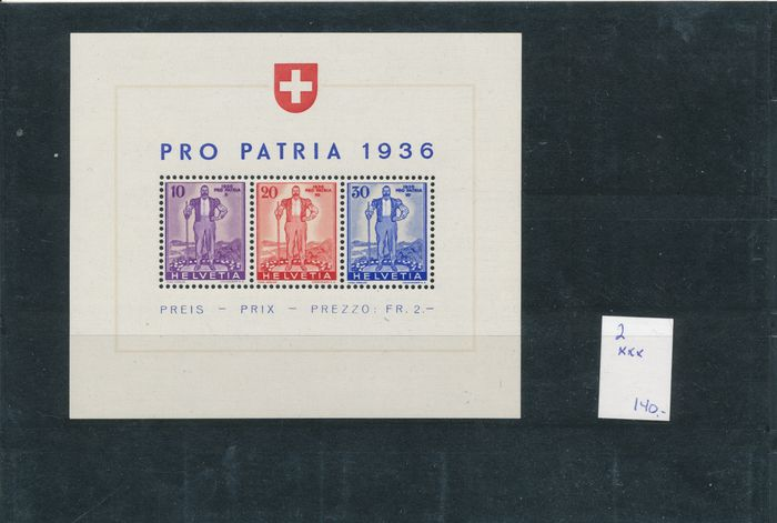 Schweiz 1936/1959 - Blocks, inventory on stock cards