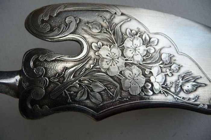 Antique large fish knife - 1885 - solid - .950 silver - France - Late 19th century