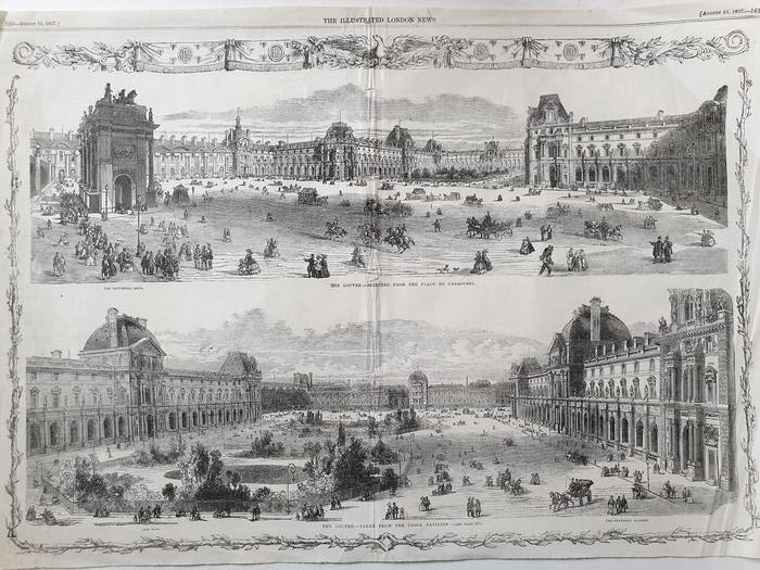 France, Paris; Illustrated London News - Two views of the Louvre - 1851-1860