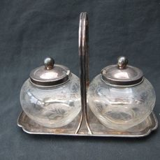 2 Mustard pots on a plate - .835 silver