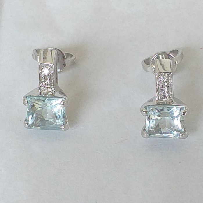 AMANTE - 18 kt. White gold - Earrings Diamonds 0.04 ct - Marine water 2.20 ct