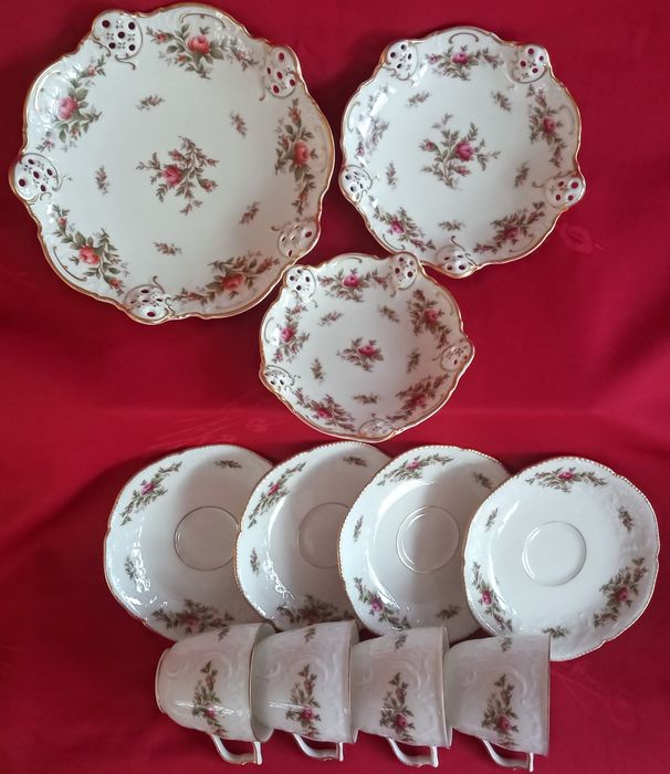 Rosenthal - 4 Cups and saucers 3 cakes / cake / bonbon dishes (11) - Romantic - Porcelain