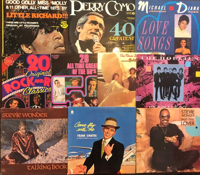 Frank Sinatra, Little Richard, Stevie Wonder - Multiple artists - Multiple titles - 2xLP Album (double album), 45 rpm Single, LP's - 1969/1987