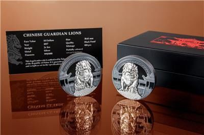Palau - 10 Dollar 2017 Coin Set Chinese Guardian Lions - 2 x 2 oz   - Silver