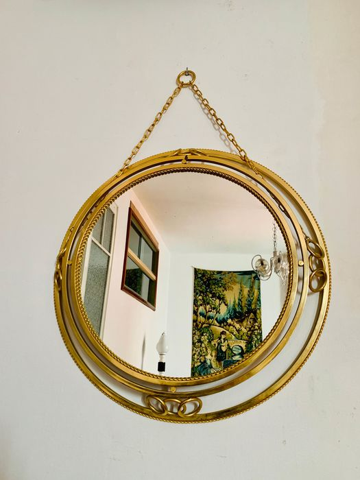 Lamp, Wall mirror, Gold with chain - Mid century S.XX-