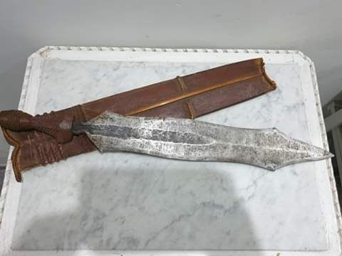 Machete - Damascus steel/iron, Wood - DR Congo