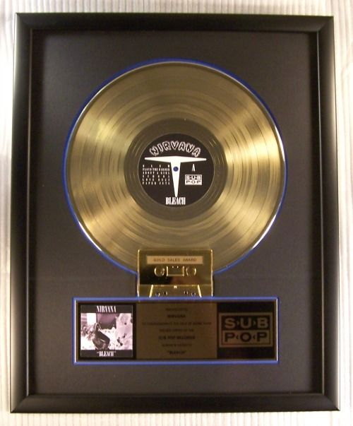 """Nirvana - """"Bleach"""" Gold LP, Cassette Record Award Presented To Nirvana - Official In-House award - 1989/1989"""