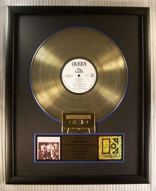 """Queen - """"The Game"""" LP, Cassette Gold Record Award Presented To Freddie Mercury - Official In-House award - 1984/1984"""