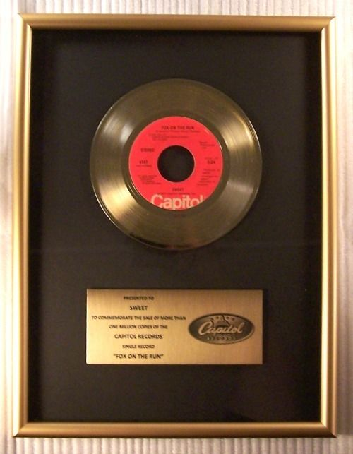 """Sweet - """"Fox On The Run"""" 45 RPM Gold Record Award Presented To Sweet - Official In-House award - 1980/1980"""