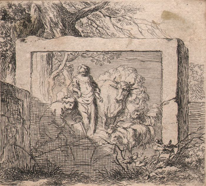 Nicolaes Berghem (1620 - 1683) - Relief with a rural scene - Second state on seven