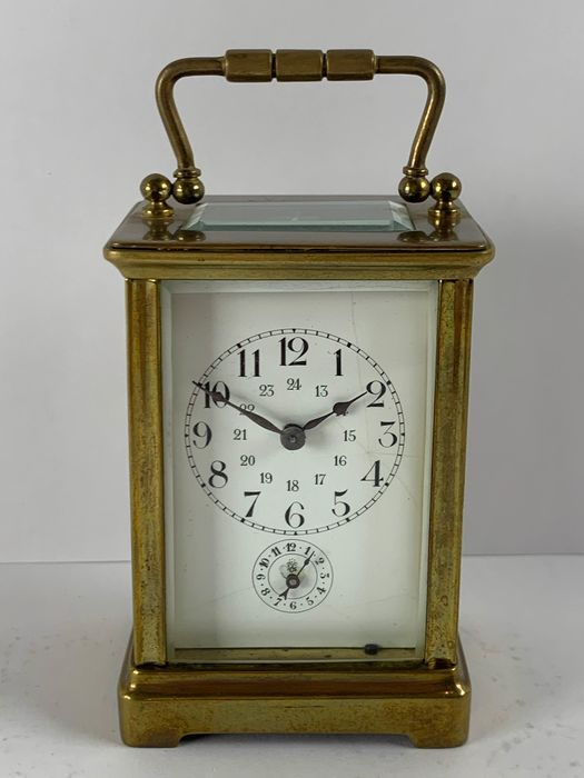 Travel alarm clock going and alarm clock with 24 hour indication - Brass - 19th century