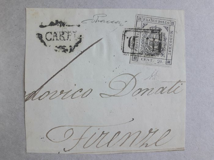 Italiaanse oude staten - Modena 1859 - 20 cents purplish slate on large letter fragment from Carpi to Florence - Sassone N. 15