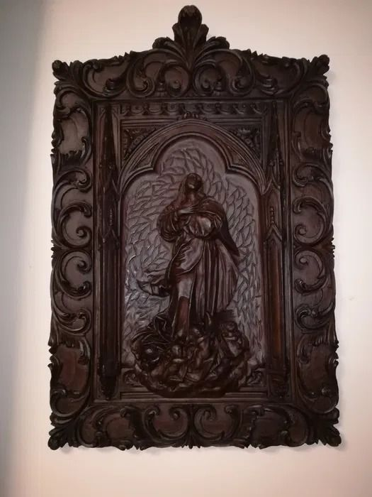 Beautiful painting of sacred art carved in wood (76 cm - 30 inches) - Wood - Early 20th century