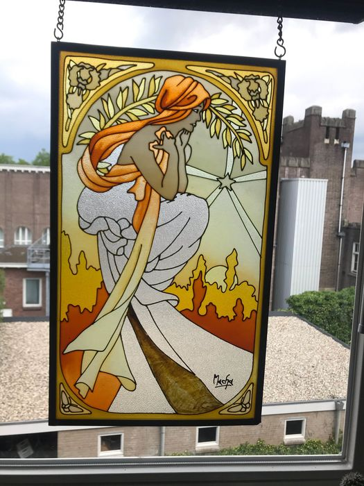 Mucha - Art Deco window pendant glass litografi, after Alfons Mucha, - Stained glass