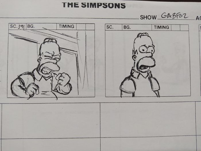 The Simpsons - Original Storyboard set Act 2 - 'Homer and Ned's Hail Mary Pass' (2005)