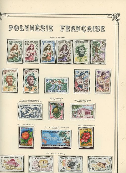 """French Colony 1958/1968 - Complete set from Polynesia, """"TOM"""" (French overseas territory) period, postage, airmail and tax stamps on Leuchturm pages. Complet du n°1 à 61 (Poste), 1 à 21 (PA) et 1 à 3 (taxes)"""
