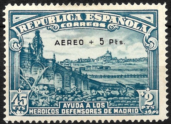 Spain 1938 - Siege of Madrid, Airmail enabled (overprinted) + 5 Pts. Issue of only 5,000 units. - Edifil 759