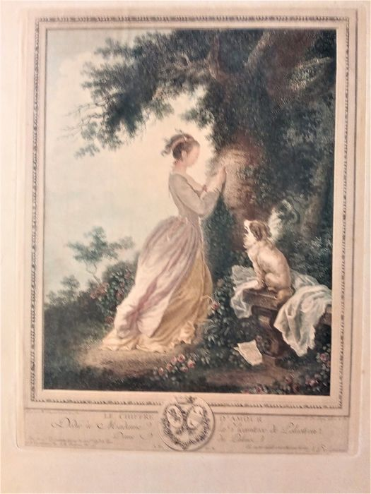 "Nicolas de Launay - After H.Fragonard ""Le chiffre d'Amour"""