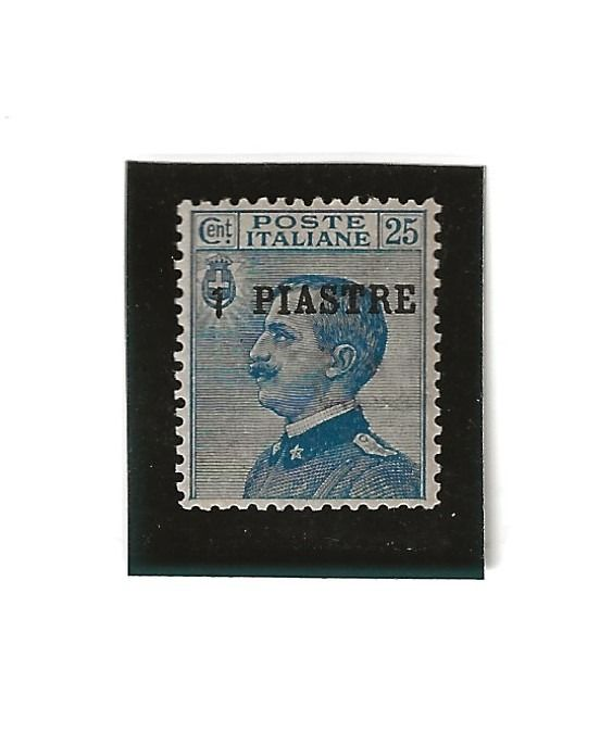 """Levante 1908 - Italian offices - Constantinople, 1 Pi on 25 cents light blue, """"Piastre"""" instead of """"Piastra"""" - Sassone N. 4d"""