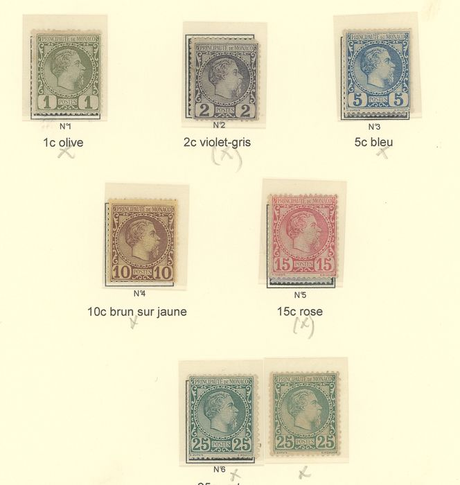 France 1885/1894 - Monaco - Prince Charles III and Albert I, Series of 1st issues - Yvert Entre les n°1 et 21