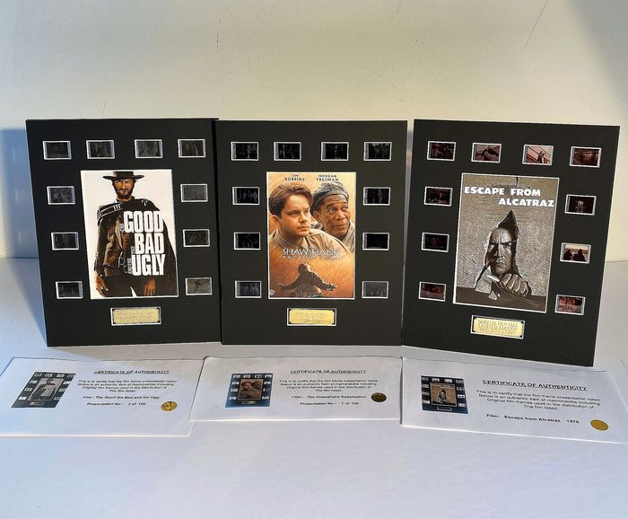 Lot of 3 - Clint Eastwood (The Good, The Bad & The Ugly & Escape from Alcatraz)  + - The Shawshank Redemption - Film Cell Display