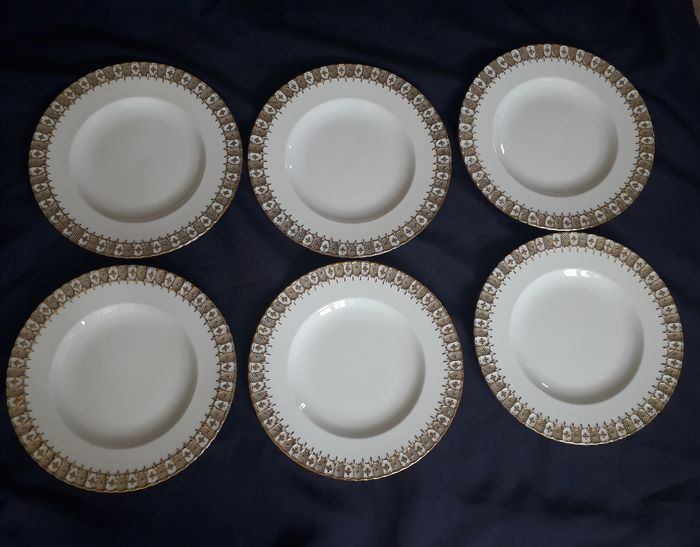Heraldic - Royal Crown Derby - Dinner Plates (6) - Porcelain