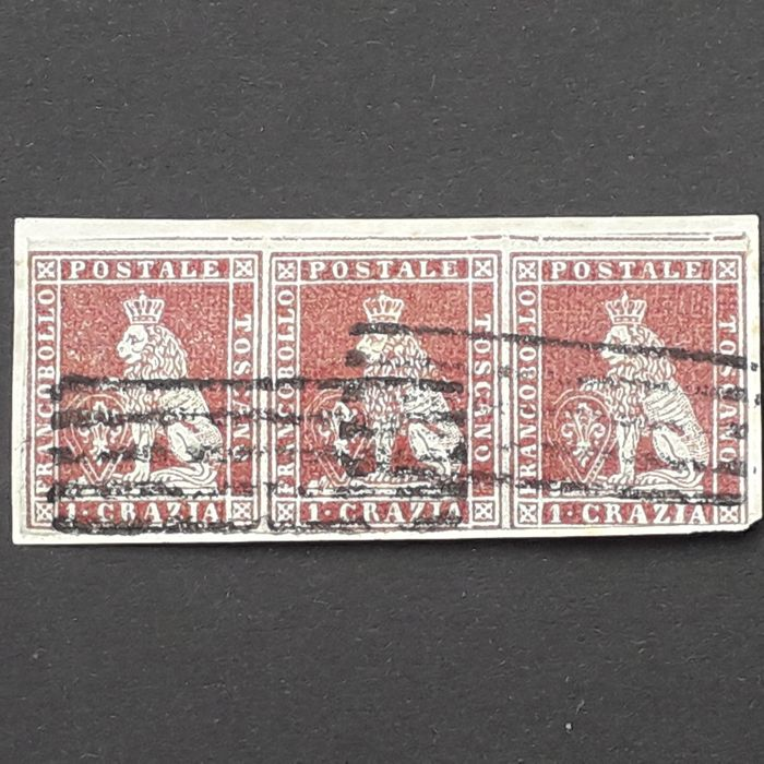 Italian Ancient States - Tuscany 1851 - 1 cr. carmine brown on grey, horizontal strip of three with cancellation with bars - Sassone N. 4e