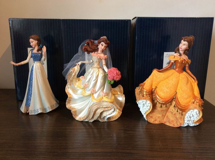 """Disney Showcase Collection - 3 Beeldjes - Haute Couture - Belle - """"Beauty and the Beast"""""""