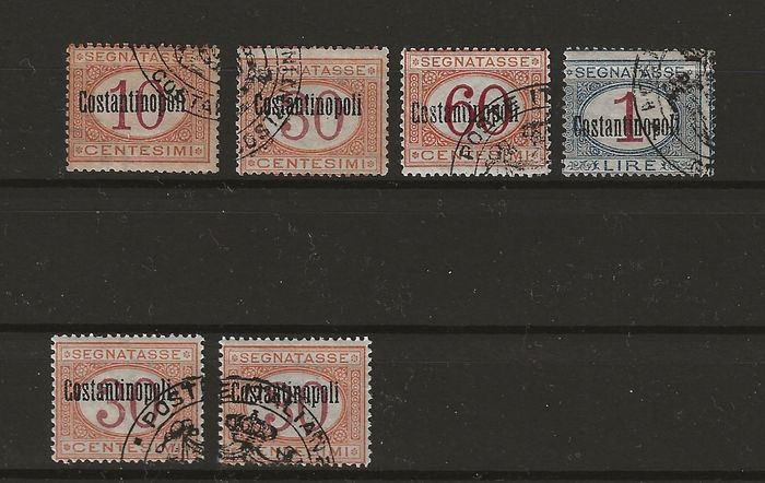 Levant 1922 - Constantinople postage due, single and block of four