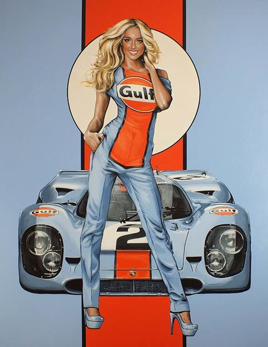 Artículo decorativo - Gulf  Pin-up-Girl XXL Raceprint - Porsche