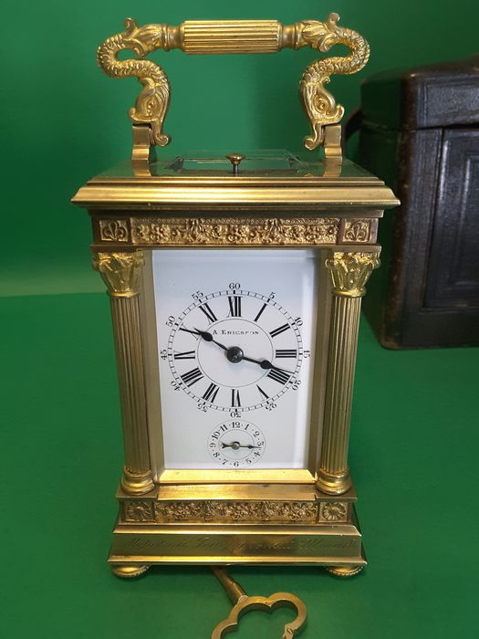 Antique Table Clock / Travel Office / Mrescialla / Cappuccina - Brass End 800 First 900 - - - bronze brass - Late 19th century Early 20th century