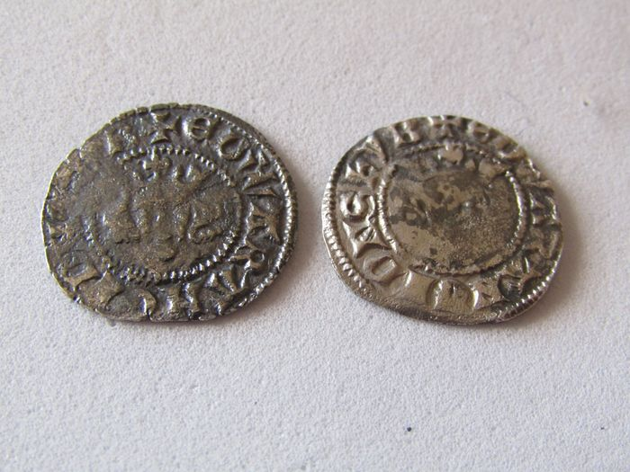 Great Britain - Lot of 2 AR Pennies, Edward I (1272-1307). Lot of 2 AR Pennies, London and Canterbury mints - Silver
