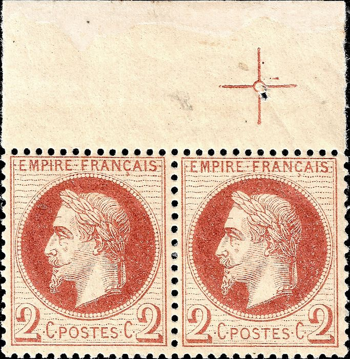 Frankrijk 1870 - Empire lauré, 2 centimes red brown, type II, pair, with crop marks. - Yvert 26B