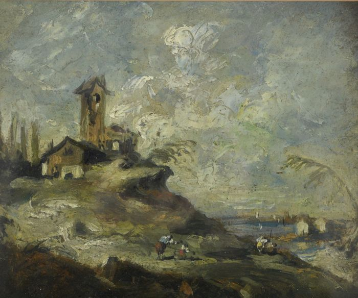 Terry O'Donnell (20th century) - An Italianate landscape with figures