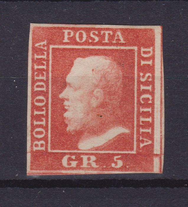 Italian Ancient States - Sicily 1859 - 5 gr. bright vermilion, second plate - Sassone N. 11a