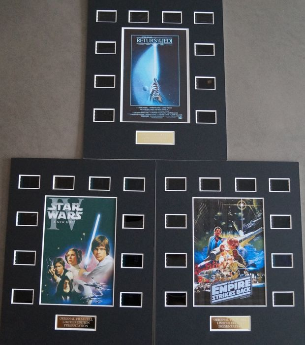 Star Wars - Lot of 3 - The Original Trilogy (Star Wars/The Empire Strikes Back/ Return of the Jedi)  - Film Cell Displays
