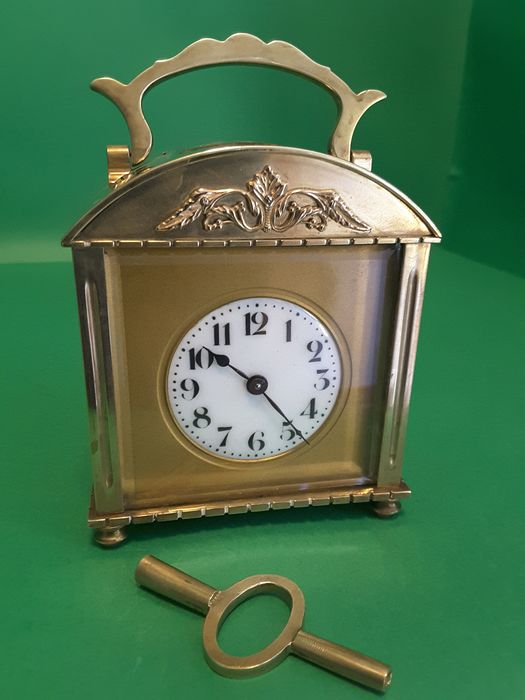 Antique Table Clock / Officier Travel / Mrescialla / Cappuccina - Brass End 800 Early 900 - bronze brass - Late 19th century Early 20th century